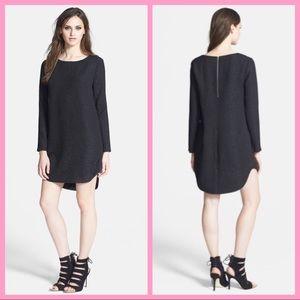 ASTR THE LABEL   Black Long Sleeve Textured Dress
